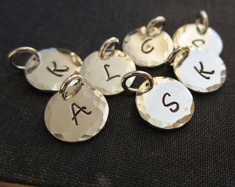 Personalized initial charm, custom sterling silver initial, letter, hammered sterling silver charm