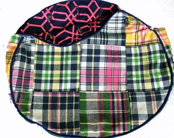 BERMUDA BAG COVER for 4 button Ladies bag in stock and Ready to Ship Handmade Preppy Patched Madras