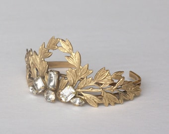 Crystal cuff braclet bridal leaf brass vintage jewel neoclassical leaves Grecian antique style art deco rhinestone wedding jewelry