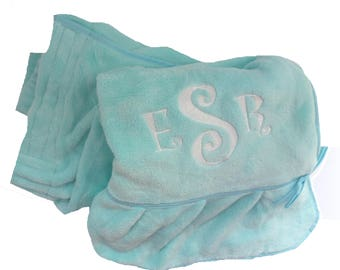 Flirty Flounced Ladies Shower Wrap in Terry Velour and Personalized with Embroidery - Many Colors - Name or Monogram
