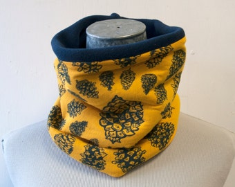 Neckwarmer - Fleece Cowl - Pinecone on yellow - Snowboard - Ski - Winter Clothing