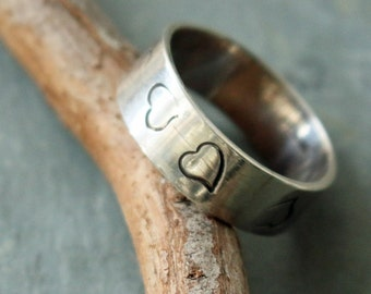 Heart Design Sterling Silver Wide Band Ring, Sterling Wedding Band with Hearts Ready to Ship, Sterling Band Promise Ring with Hearts,