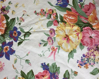 """Vintage Ralph Lauren Fabric Remnant Home Decor Large Floral Print White Background Bold Flowers 54"""" wide 20"""" long Unused"""