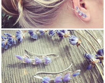 Lavender Ear Climber, glass and sterling silver