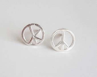 Peace Sign Earrings, Sterling Silver Earrings, 90s Jewelry, Grunge Jewelry, Bohemian Earrings,Peace Sign Jewelry, Hypoallergenic Studs