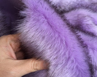 Orchid Kiss - quality dense purple faux fur with black tip synthetic fur fabric  - Long HALF