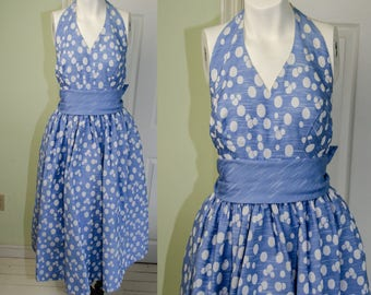 1950s Designer Pat Premo Blue Polka Dot Halter Dress W26 B32