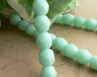 Mint Green Czech Glass Beads Round Pale Jade Fire Polished 6mm (25)