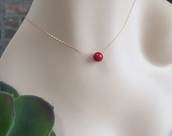Gold-fill Delicate Necklace with Red Coral Bead