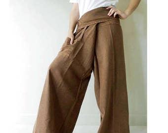 Hippie gypsy brown cotton Thai fisherman pants S M L XL (N27)
