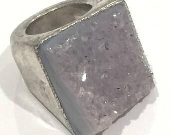 Dara Ettinger ABBY Druzy Ring in Antique Silver/ Amethyst sz 5