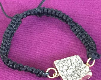Dara Ettinger Black Macrame Friendship Bracelet with 14kt Gold plated brilliant amethyst square druzy in Silver