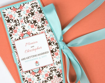 Mexican/Spanish Coral/Sea Green Tile Beach Destination Wedding Invitation and RSVP Suite