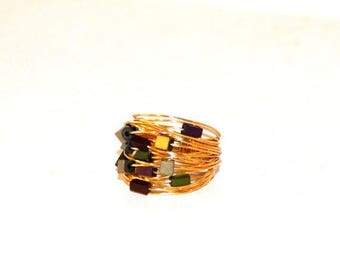 Gold Wire Wrapped Ring / Gold Purple Olive Green Wire Wrap Ring / Gold Nest Beaded Ring / Beaded Gold Wire Wrapped Ring / Modern Wire Ring