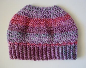 Changing Colors Messy Bun Beanie Ponytail Hat READY TO SHIP!