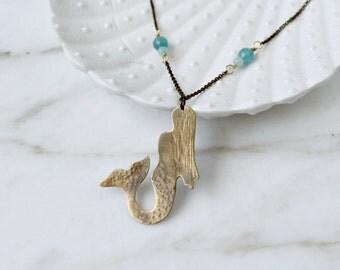 Mermaid necklace, brass & light blue angelite amazonite gemstones, ocean seaside necklace, mermaid pendant