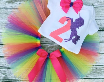 Unicorn Birthday Outfit, Unicorn Outfit, Unicorn Birthday Party,Tutu and Birthday Shirt, Can Be Made for 1st, 2nd, 3rd, 4th and 5th Birthday