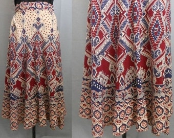 Vintage 70s India Skirt, 1970s East Indian Block Border Print Wrap Skirt Boho Rich Hippie, Size M to L to Xl