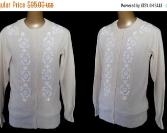 MOVING SALE Vintage 50s Style Cardigan Sweater, 80s Hand Beaded Off White Angora Blend, Size M Medium
