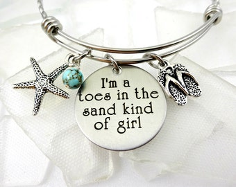 Toes In the Sand Engraved Beach Necklace or Bracelet - Cruise Jewelry - Ocean