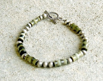 ON SALE Multicolor Green and Silver Beaded Bracelet