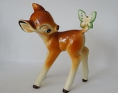 RESERVED for PATTI Disney Bambi Figurine with Butterfly Made in Japan Deer Fawn Walt Disney Productions