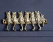 RESERVED Brass Cat Key Rack 6 Hooks Key Holder