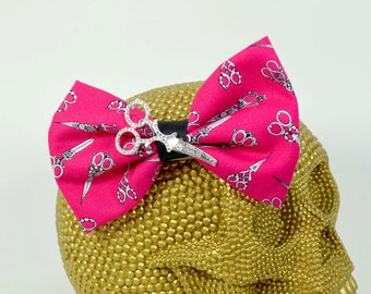 CRAFTY CHICA - Scissors charm with crystals on scissors patterned pink fabric Hairbow on Alligator Clip