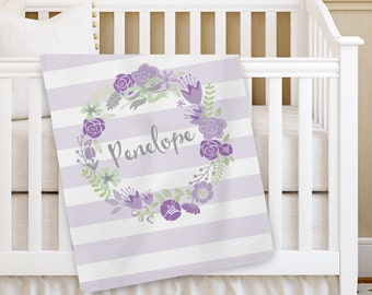Personalized Baby Blanket, PURPLE Girl Baby blanket, Custom Receiving Blanket, Baby Crib Blanket, Swaddling Blanket, Custom Baby Shower Gift