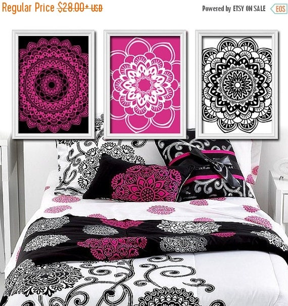 hot pink black wall art canvas or print college dorm by