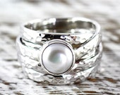 White Pearl Ring Sterling Silver Engagement Rings Hammered Finish