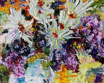 Chrysanthemum And Lilacs Still Life Fine Art Modern Impressionist Original Oil Painting by Ginette Callaway