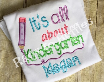 Back To School Kindergarten Shirt- Personalized Shirt- personalized Back to School Shirt