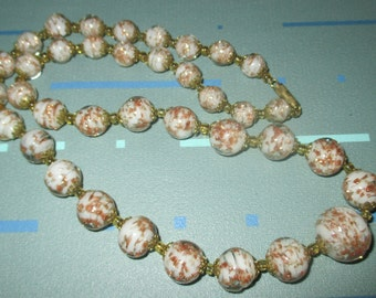 Vintage FAB Italian Murano Glass Gold Dust Graduated Bead Necklace