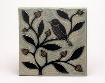 Bird on Budding Vine- 6x6 tile-Ruchika Madan