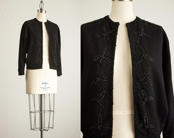 60s Vintage Black Beaded Lambswool Cardigan / Size Small