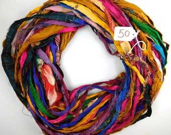 Silk Sari ribbon, Sari Silk Ribbon, Chiffon Sari Ribbon, printed sari ribbon, weaving supply, rug supply, crochet supply, washed sari