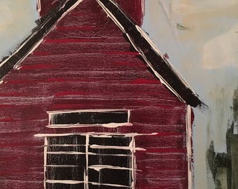 one room red school house  - Acrylic on Canvas Painting