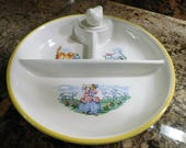 Vintage Baby Dish Divided Warming Bowl Nursery Rhymes Little Chick Superior Hall Quality