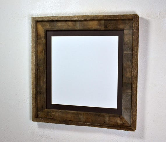 Picture Frame 12x12 Upcycled Wood With Mat For 10x10 Or