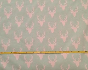 NEW Art Gallery Buck Forest MINI Bucks on mint cotton Lycra  knit fabric 1 yard.