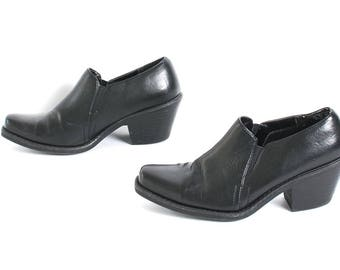 size 7.5 CHELSEA black leather 80s 90s WESTERN slip on ankle boots