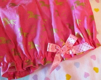 Unicorn bloomers, fairy kei pink gold metallic pastel goth barbie fashion drag queen clothing vaporwave size small s