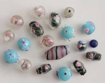 Lampwork glass mixed barrel and round beads 8-25mm (19)