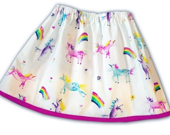 Girl's Unicorn and Rainbow Skirt /Children's / Kids / Baby Clothes