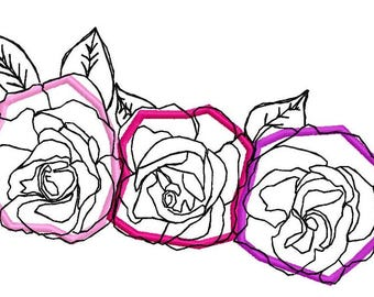 Applique Roses Large Machine Embroidery Design by Letzrock  3113