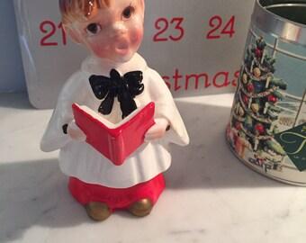 Vintage Christmas Choir Boy Ceramic Figurine from Japan - Dated 1956
