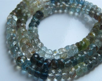 1/2 Strand of Amazing Shaded Moss Aquamarine Faceted Rondelles Beads 5mm-6.5mm Semi precious Gemstones