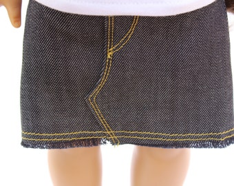Fits like American Girl Doll Clothes - Mini Denim Skirt, Made To Order