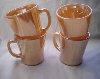 Set of Four Fire King Peach Luster Coffee Mugs